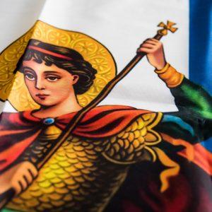 Σημαία Σταυρός Αγιογραφία Άγιος Γεώργιος με χρυσό κρόσσι